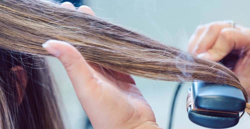 using straightener on wet hair